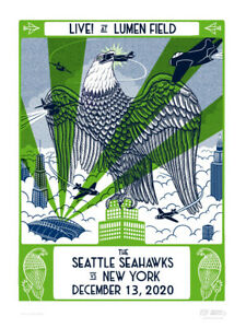 Seattle Seahawks Gameday Poster New York Jets Limited Edition Russell Wilson