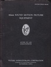 VICTOR INSTRUCTION MANUAL for MODEL 40B 16mm SOUND MOTION PICTURE EQUIPMENT-1948