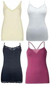 Ex M&S Secret Support Lace Trim Cami Vest T-Shirt Top. Sizes 8-18