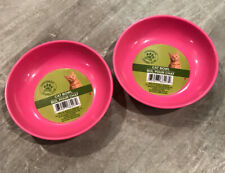 2 Pink Pet Bowls Heavy Duty With No Tip Non Slip Rubber Bottom. Plus Easy Clean