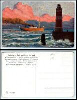 Vintage Postcard - Foreign Steamship Passing Lighthouse G33