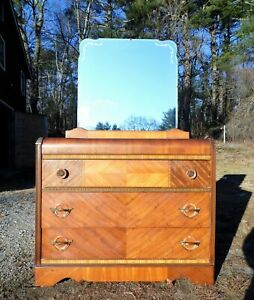 Vintage Art Deco Waterfall Dresser Bureau Chest of Drawers & Mirror Webb Furn.