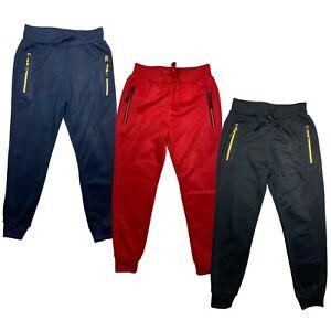 Boys Girls Plain Basic Zip Pockets PE Tracksuits School Jogging Bottoms Joggers