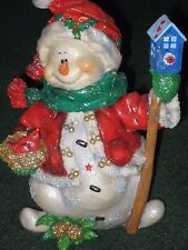 Handcrafted Snowlady w/ Birdhouse 8 1/2 inches tall