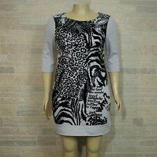 Desigual Inma LARGE Dress Gray Black Graphic Pocket Front Sweatshirt Material