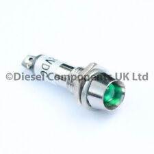 GREEN 12V 8mm Chrome LED Dash Dashboard Warning Indicator Signal Light Lamp