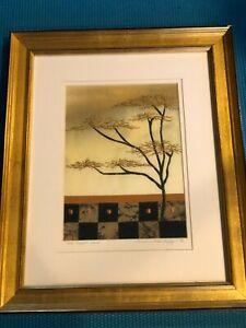 "Susan Dell Szajer Fabric Artwork ""One Locust Lane"", Signed, Framed, 6 1/2"" x 9"""