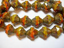 15 11x10mm Czech Glass  Mango Orange Picasso Baroque  Bicone Beads