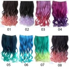Clip on Ombre Dip dye Curly Nylon Clip in Hair Extension