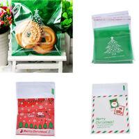 100× Cookie Packaging Christmas Santa Claus Reindeer Self Adhesive Gift Bags New