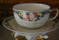WONDERFUL FRENCH HAVILAND LIMOGES FLOWER DECORATED LARGE COFFEE CUP & SAUCER # 4