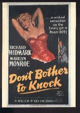 MARILYN MONROE DON'T BOTHER TO KNOCK Poster postcard carte postale cp AK
