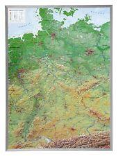 3D Relief-Karte Deutschland mit Alu Rahmen Hochformat 57x77cm #100550P