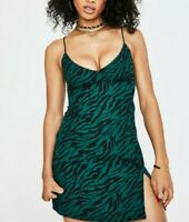 MOTEL ROCKS Katya Dress in 90s Zebra Forest Green  Small S    (MR7)