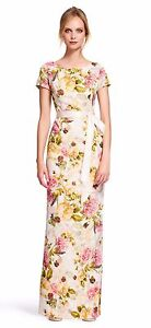 Adrianna Papell English Rose short sleeve floral gown with tie sash NWT