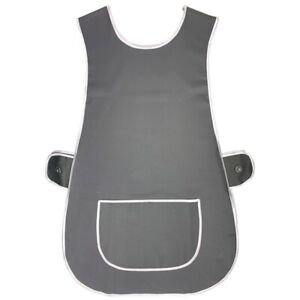 LADIES LARGE TABARD APRON KITCHEN OVERALL CATERING CLEANING POCKET PLUS GREY