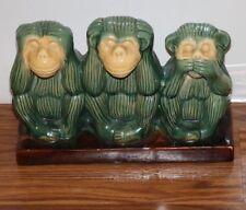 See No Evil Speak Now Evil Hear No Evil Ceramic Monkey Decor Statue Green