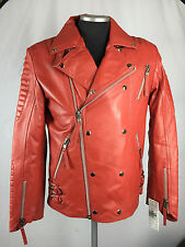 MENS GENUINE LEATHER BIKER JACKET MOTORCYCLE RIBBLES RED (ALL SIZES) V BOMBER