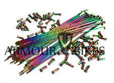 BMX Oil Slick Spokes & Nipples Armour Bikes 14G Stainless Steel Jet Fuel Rainbow
