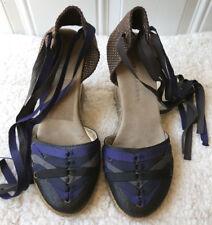 MARC JACOBS Women Espadrille Wedge Heels Sz 7 EU 38 Satin Lace Tie