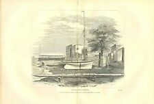 Rare 1867 Antique Fish Print ~ Rural Sports ~ Boat Yard ~ double size plate