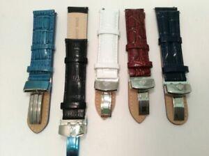 Aqua Master Genuine Leather watch strap band 20mm 22mm 24mm Black Blue Brown whi
