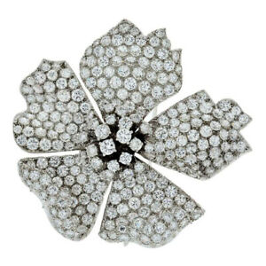 5.25ct Natural Round Diamond 14K White Gold Brooch Pin