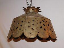 Vintage Pierced/Punched Tin Primitive Hanging Swag Lamp