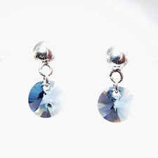 Damen Ohrringe 925 Sterling Silber Swarovski Kristalle 8 mm Hänger Blau RivP