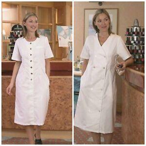 WHITE LADIES HEALTH BEAUTY BUTTON DRESS BEAUTICIANS SPA HEALTHCARE SALON TUNIC