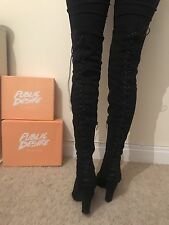 Size 5 Public Desire Black Lace Up Back Thigh High Boots Heels Shoes New Casual