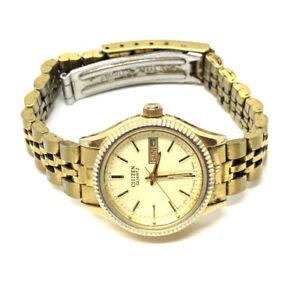 Citizen Ladies Quartz Watch, Day/Date. GN-4W-S Gold Tone