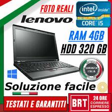 "PC NOTEBOOK LENOVO THINKPAD X230 12.5"" CPU i5 3°gen 4GB RAM HDD 320GB WIN 10 PRO"