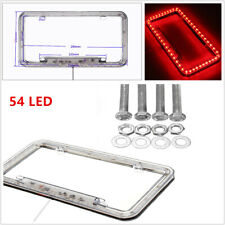 54 Red LED Lighting Acrylic Plastic Car License Plate Cover Frame Universal 1PCS