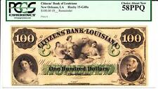 $100 Louisiana, New Orleans Remainder PCGS 58PPQ- CHOICE ABOUT NEWS- AMAZING!!!