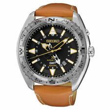 Seiko Kinetic GMT SS Brown Leather Strap Black Dial Men's Watch SUN055