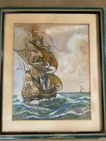 "Antique T Elacca Masted Ships at Sea Scene"" Gouache Painting - Signed And Framed"