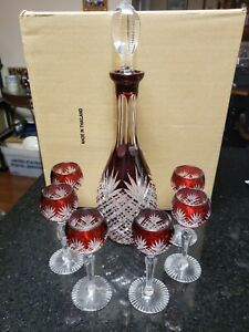 Cut CLEAR & RED  Cordial Set with 6 Glasses by Rexxford FREE SHIPPING