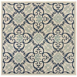 Castille Aragon Indoor Outdoor 160cm Square Cream Navy Rug