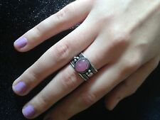 Ring Big Silver Pink Jade Hippie Boho  Gypsy Cuff Tribal Bohemian R1017