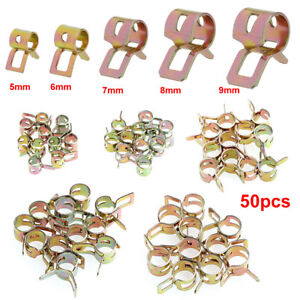 50pcs Spring Clip Fuel Oil Water Hose Pipe Tube Clamp Fastener 5-9mm 5 Sizes Kit