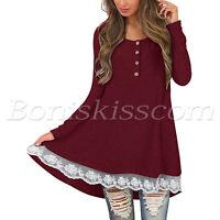 Women's Long Sleeve Lace Scoop Neck A-Line Tunic Lace Splicing Hem Dress (S-XL)
