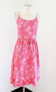 Vtg Malia Honolulu Pink Floral Print Dress Sundress Size 10 - XS S Flounce Hem