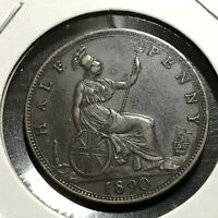 1890 GREAT BRITAIN 1/2  PENNY HIGH GRADE COIN