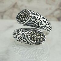 Authentic Solid 925 Sterling Silver Women Ring Marcasit Gemstone Turkish Style