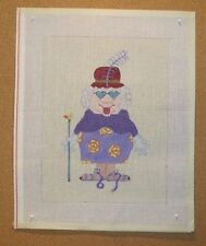 Red Hat Old Lady in Purple Dress Pillow Handpainted Needlepoint Canvas