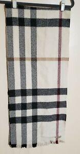 Authentic Burberry Merino Wool Cashmere Ivory Plaid Rectangular Fringe Scarf