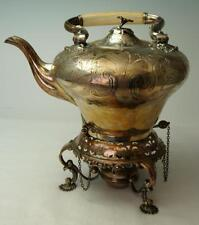 Antique Circa 1800 Hand Raised Sheffield Silver Over Copper Kettle On Stand