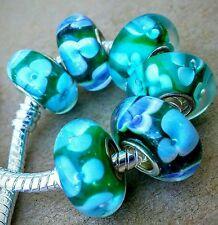 6P Emerald Green Dark Blue White Flowers Single Core European Murano Glass Beads