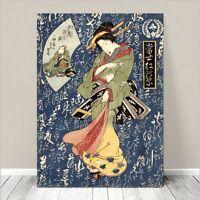 "Beautiful Japanese GEISHA Art ~ CANVAS PRINT 36x24"" Green Kimono on Blue"